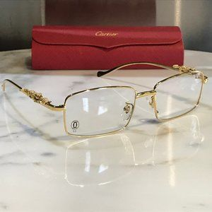 Cartier Gold Full Rim Panther Glasses